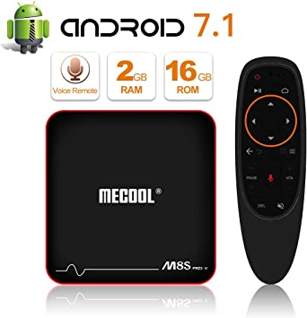 MECOOL Android 7.1 4K Smart TV Box HDR10 Quad Core 2GB+16GB WIFI 3D w//Keyboard