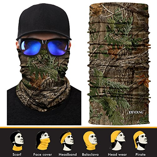 JOEYOUNG 3D Face Sun Mask, Headwear, Neck Gaiter, Magic Scarf, Balaclava, Bandana, Headband for Fishing, Hunting, Hiking, Yard Work, Moisture Wicking UV Protection, Great for Men & Women
