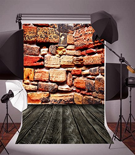 (Leyiyi 3X5ft Photography Backdrop Happy Halloween Backdrop Vintage Grunge Rough Brick Wall Wood Floor Countryside Barn Dirty Downtown Street Corner Collapsible Photo Portrait Vinyl Studio Video)
