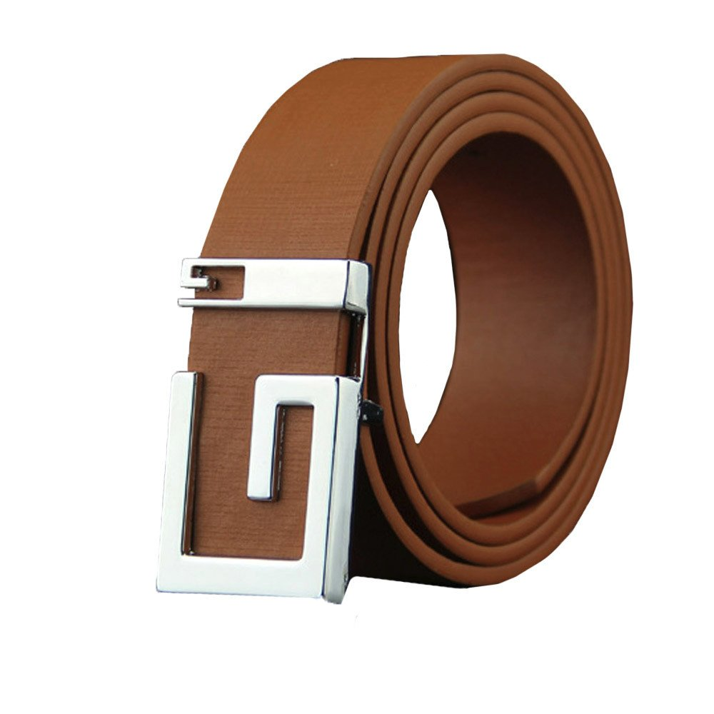 Heecaka Men's Leather Ratchet Dress Belt Casual Belt with Single Prong Buckle