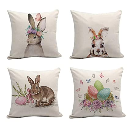 Amazon JOJUSIS Easter Rabbit Throw Pillow Covers Cotton Linen