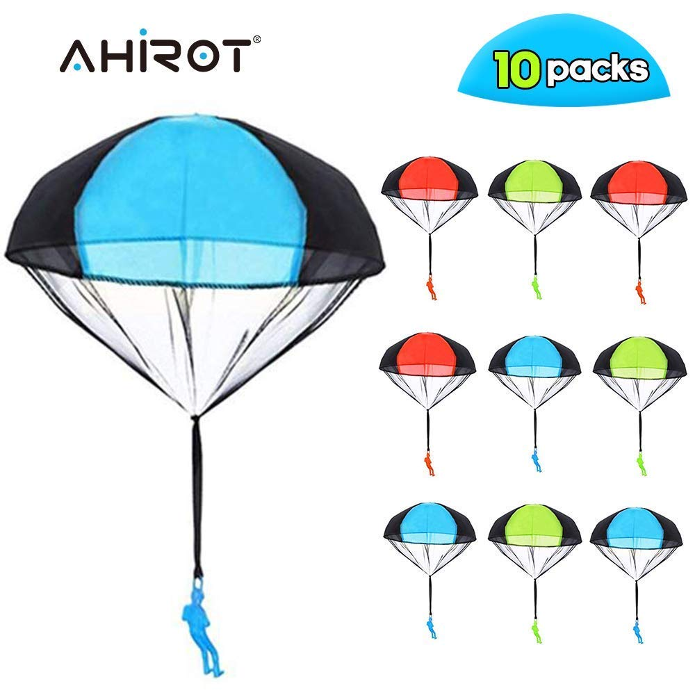 AHIROT Parachute Toys 10pcs Tangle Free Throwing Parachute Figures Skydive Parachutes Man Hand Throw Soldier Toss It Up and Watching Landing Outdoor Flying Toys for Kids Gifts by AHIROT