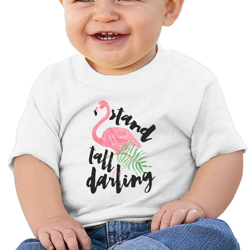 Buecoutesstand Tall Pink Flamingo Toddler//Infant Short Sleeve Cotton T Shirts White