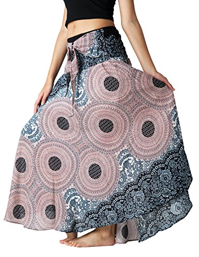 Bangkokpants Women's Long Hippie Bohemian Skirt Gypsy Dress Boho Clothes Flowers One Size Fits (Grey, Plus Size) by Bangkokpants