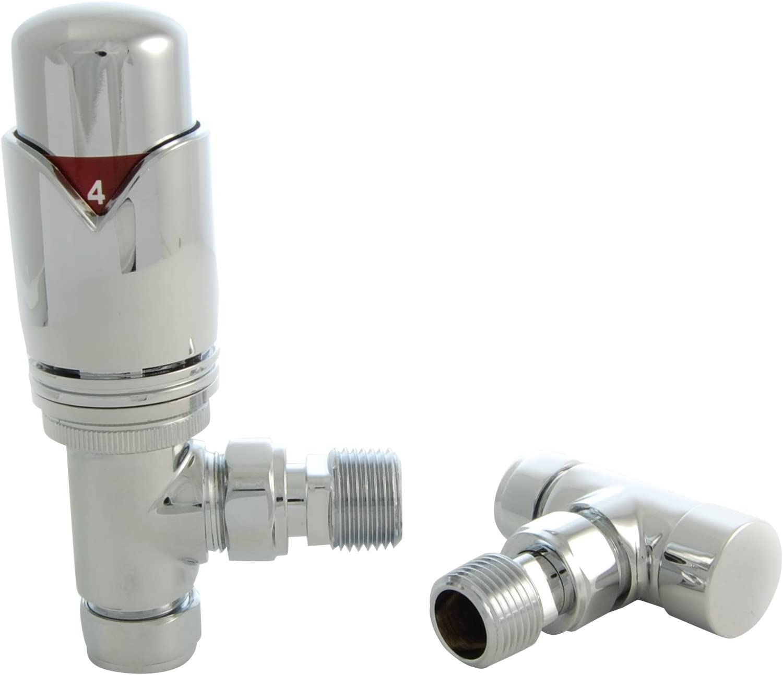 15mm Thermostatic Radiator Valve Angled TRV FULL CHROME