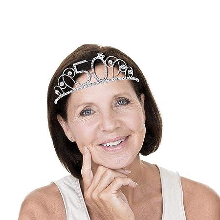 Sue-Supply Corona de cumpleaños Tiara 20/30/40/50 años para Mujeres Corona de Cristal, Tiara con Peine de Pelo Cristal de Diamantes de imitación Plata ...