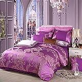 EEvER Reversible Bed Covers Coverlet Continental cotton jacquard bedding four-piece suit silk cotton double bedspreads linen cov pillowcase, amaranth, 200 * 230cm