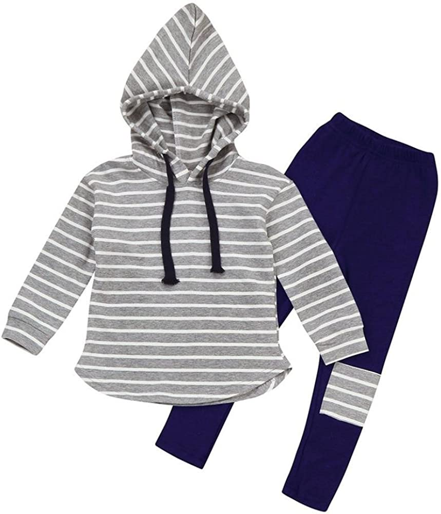 fd6b4ce80bb8b Baby Outfits Clothes Set MIITY Fall Winter Cotton Toddler Kids Stripe  Pullover Hoodie Tops Patch Pants