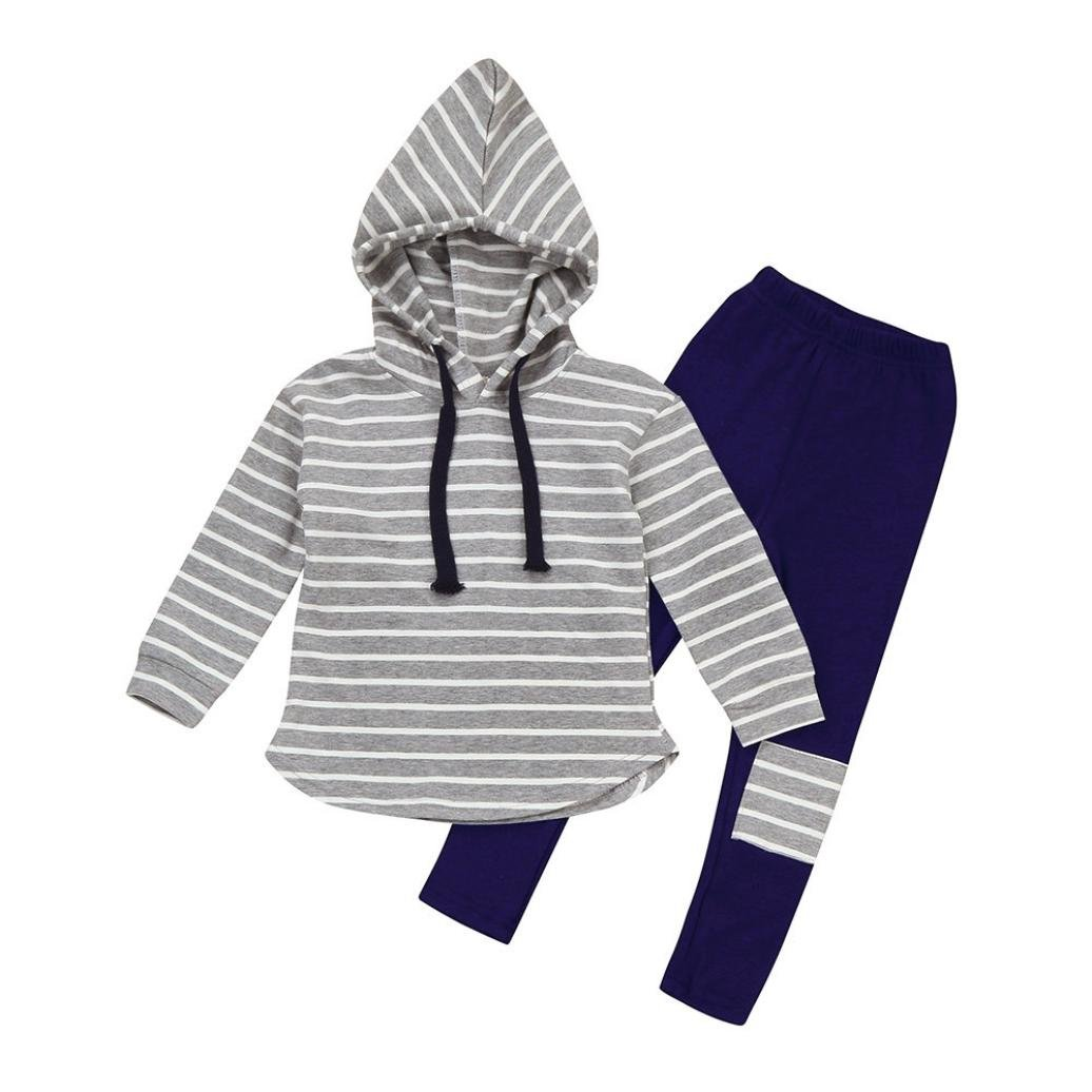 Baby Outfits Clothes Set MIITY Fall Winter Cotton Toddler Kids Stripe Pullover Hoodie Tops Patch Pants