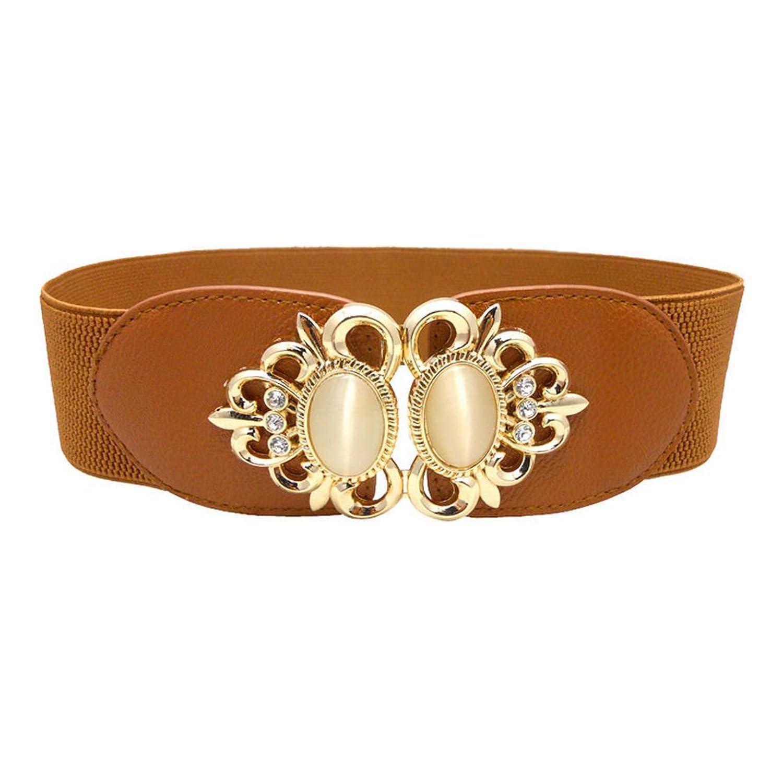 Deercon Womens Elastic Wide Waistband Rhinestone Leather Belt(4 colors)