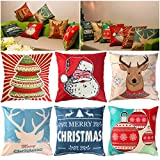UNOMOR Christmas Pillow Covers for Sofa Bedroom Home Décor – Set of 6 (18'' X 18'')