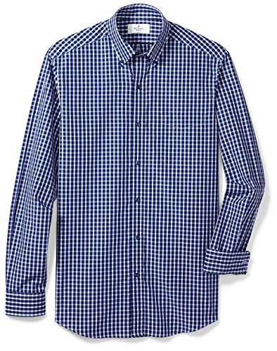 BUTTONED DOWN Men's Classic Fit Supima Cotton Button-Collar Dress Casual Shirt, Navy/Bright Blue Check, XL - Shirt Bright Check