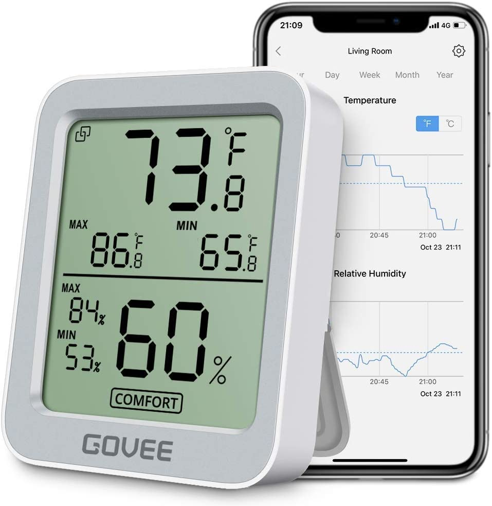 Govee Thermometer Hygrometer, Accurate Indoor Temperature Humidity Sensor with Notification Alert, LCD Bluetooth Temp Humidity Monitor with Data Storage for House Garage Greenhouse Wine Cellar- Grey
