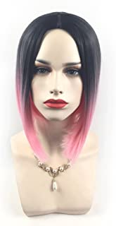 Meen Wig Ladies Fashionable Gradient Short Straight Hair 5 Colors Can Be Selected Cosplay High Quality Female Party Wig (Color : Black gradient white)