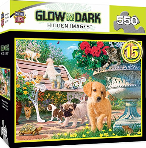 MasterPieces Hidden Image Glow in the Dark Afternoon at the Park Puppies Jigsaw Puzzle by Steve Read, 550-Piece