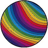 Printing Round Rug,Rainbow,Hallucinatory Rainbow Stripes Pattern Retro Vibes Vibrant Colors Visual Fantasy Decorative Mat Non-Slip Soft Entrance Mat Door Floor Rug Area Rug For Chair Living Room,Multi