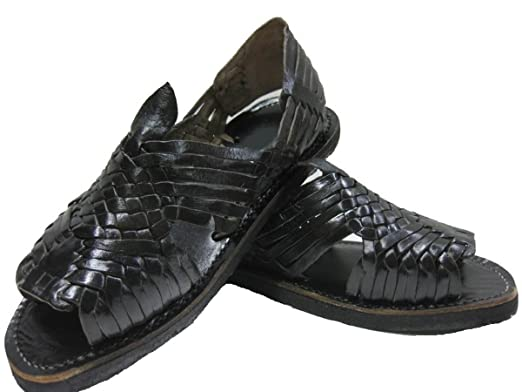 c318b1cbf79e MEXICAN SANDALS-Men s Genuine Leather Quality Handmade Sandals Huarache  Black 6