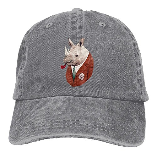 Denim Rhino - Baseball Cap Rhino - Adjustable Trucker Hat Cotton Denim, DanLive Rhino