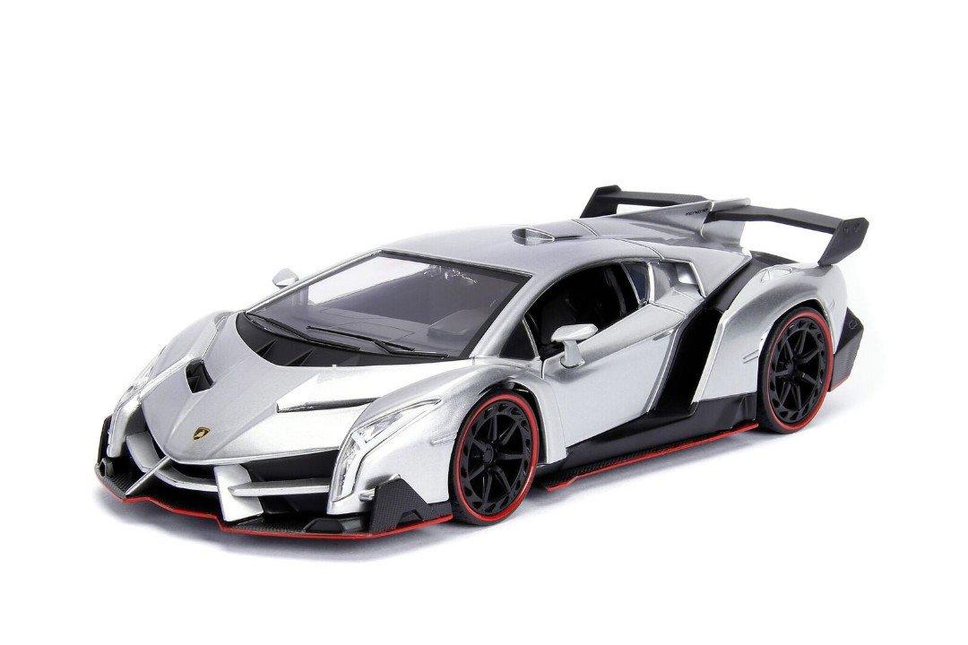 Amazon Com Jada Lamborghini Veneno Candy Silver 1 24 Diecast Model