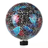 Lily's Home Colorful Mosaic Glass Gazing Ball, Designed with a Stunning Holographic Crackle Mosaic Pattern to Bring Color and Reflection to Any Home and Garden, Purple, Blue and Green (10'' Diameter)