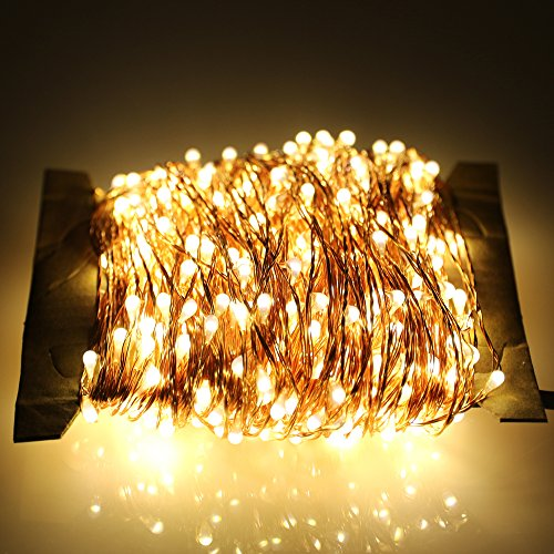 ER CHEN LED String lights Plug In, Warm White Copper Wire Starry Fairy Lights Decorative Lights with Adapter for Christmas Party Wedding(165ft/50m 500LED) - 12 Volt Christmas Lights