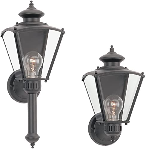 Sea Gull Lighting 8504-12 Single-Light New Castle Classic Outdoor Wall Lantern with Clear Beveled Glass, Black