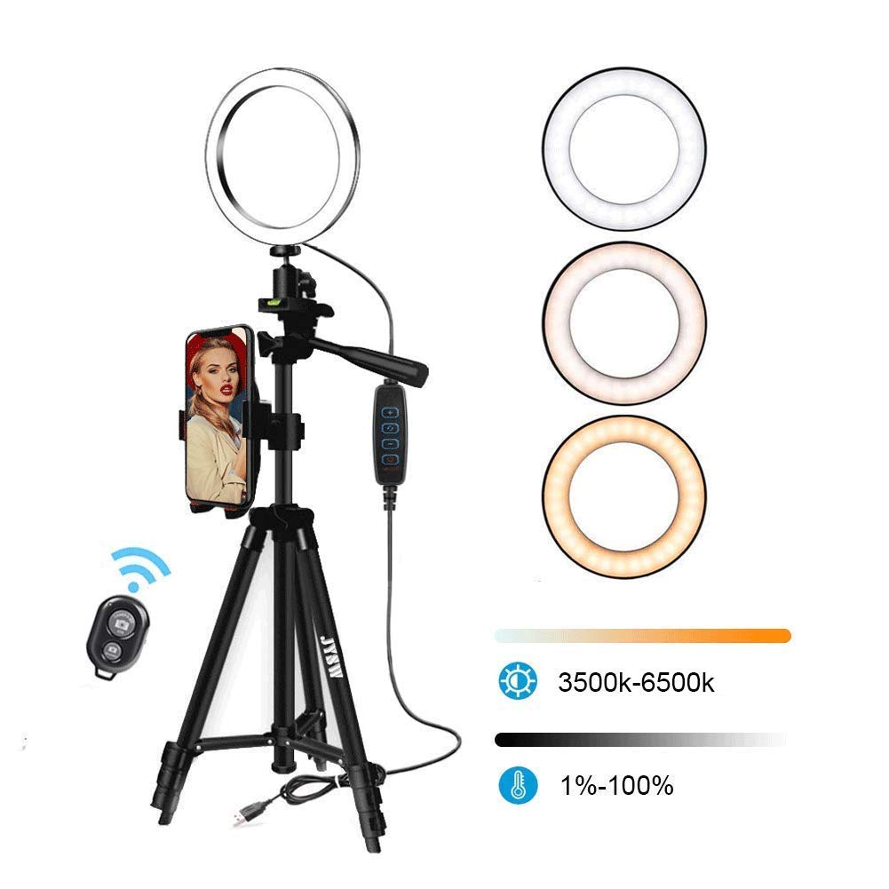 8'' Selfie Ring Light with Aluminum Tripod Stand ,Phone Holder & Remote for YouTube/Makeup,Mini Led Camera Light Ring with 3 Light Modes & 11 Brightness for iPhone/Android (Black Upgraded) by JYSW