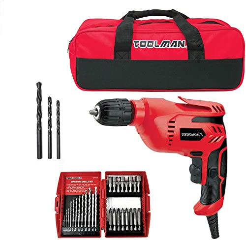 Toolman 3 8 5A Electric Power Drill Driver with 28pcs drill set and tool bag DB5207D