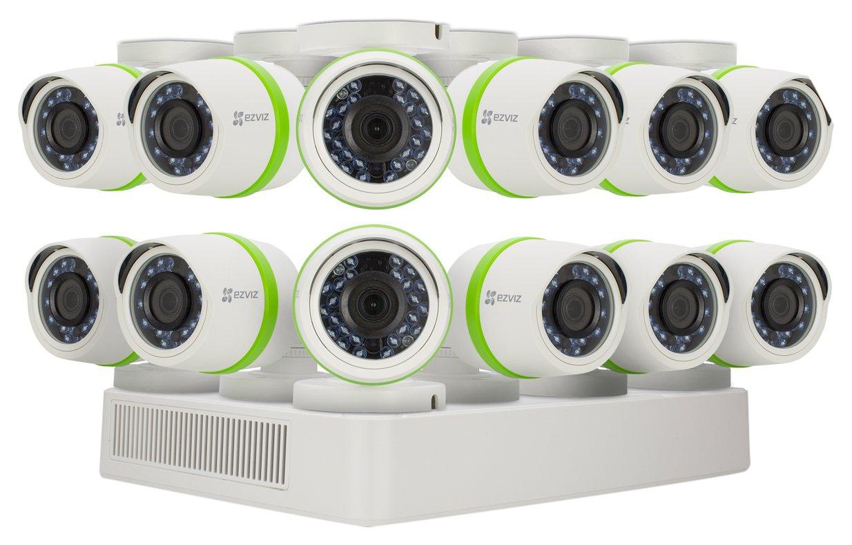 EZVIZ FULL HD 1080p Outdoor Surveillance System, 12 Weatherproof HD Security Cameras, 16 Channel 2TB DVR Storage, 100ft Night Vision, Customizable Motion Detection