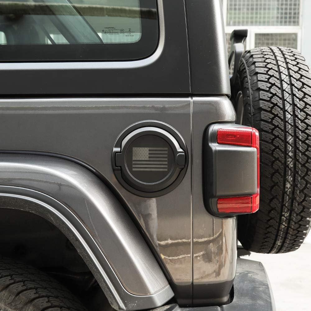 USA Flag Black Aluminum Alloy Construction Savadicar Gas Cap Cover Non-Locking Fuel Tank Door for 2018-2020 Jeep Wrangler JL 2//4 Door ABS