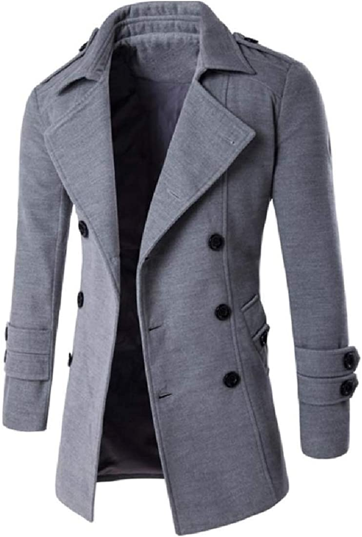 YUNY Men Trench Double-Breasted Walking Notched Lapel Collar Overcoat Light Grey XL