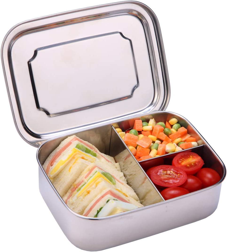 Monamour 1200ml/40oz Stainless Steel Bento Box, 3-Compartment Lunch Box, Food/Snack Container for School, Office, Picnic Etc.