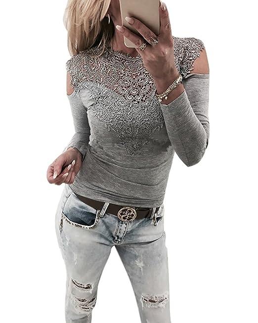 c42bdfa748553 Minetom Damen Langarmshirt Sexy Langarm Spitze Hemd Shirts Schulterfrei  Spitzenbluse Slim Fit Sweatshirt Oberteil Bluse Tops