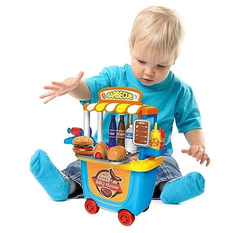 Gereton Carro de Juguete para Barbacoa Casa pequeña Supermercado Juguete Carrito Barril de Barbacoa para niños