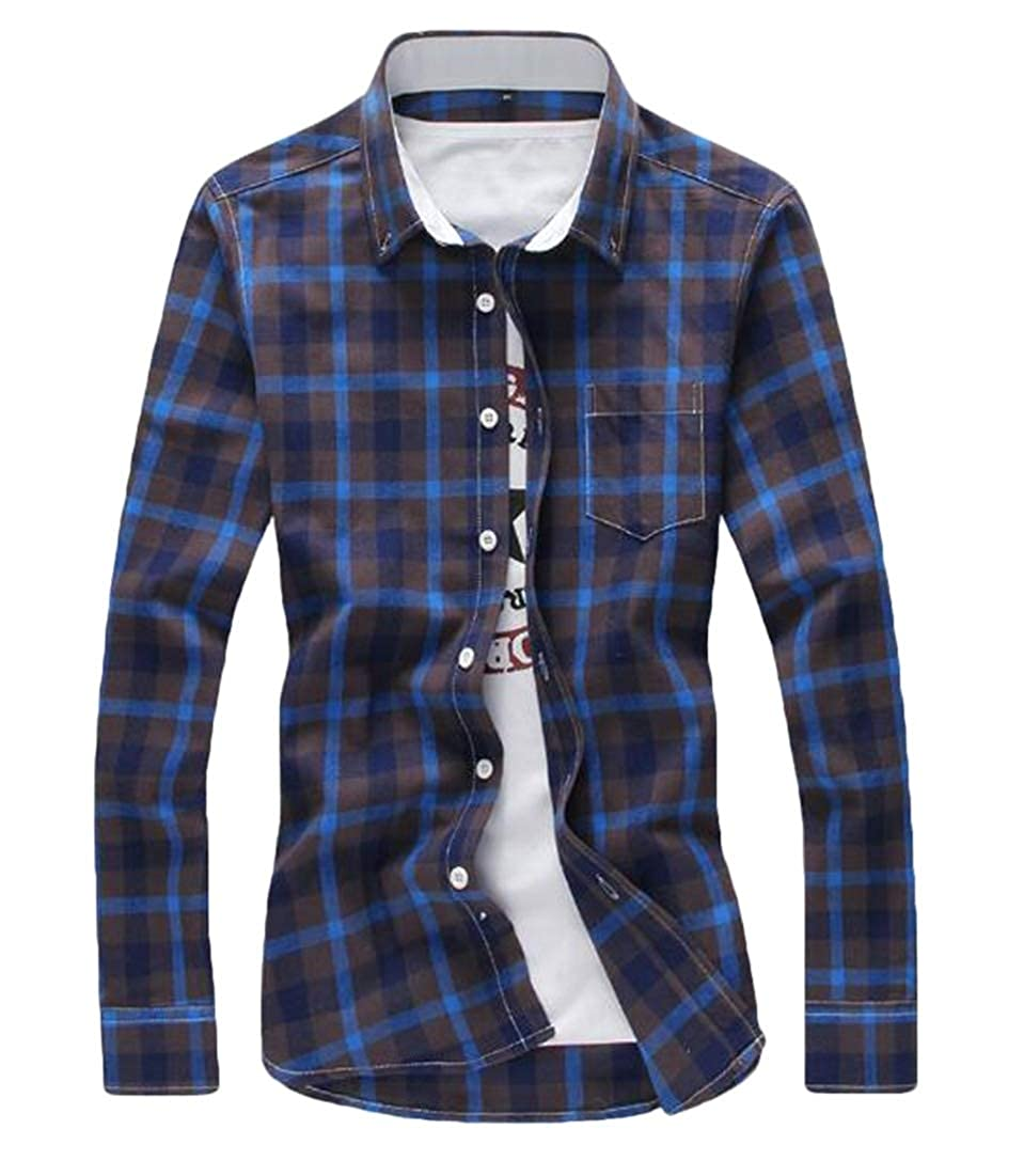 BYWX Men Slim Checkered Button Up Fashion Vogue Shirts
