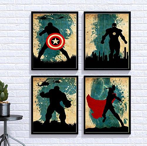 Avengers Poster Set 4 Vintage Marvel Movie Print Minimalist Avengers Artwork Wall Art Home