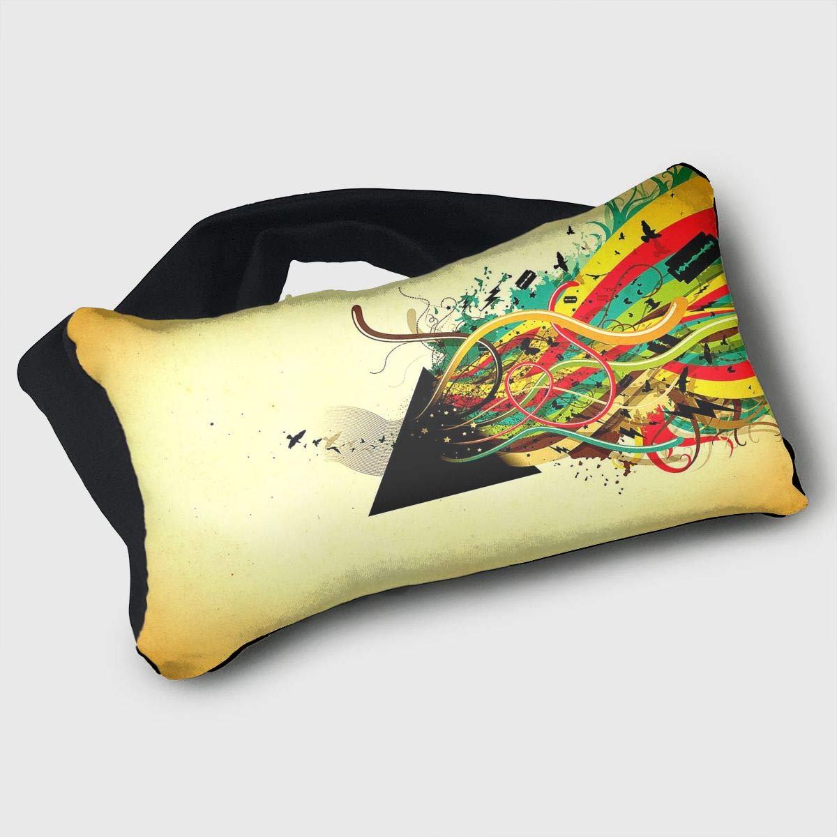 Voyage Travel Pillow Eye Mask 2 in 1 Portable Neck Support Scarf Rock Music Guitar Ergonomic Naps Rest Pillows Sleeper Versatile for Airplanes Car Train Bus Home Office