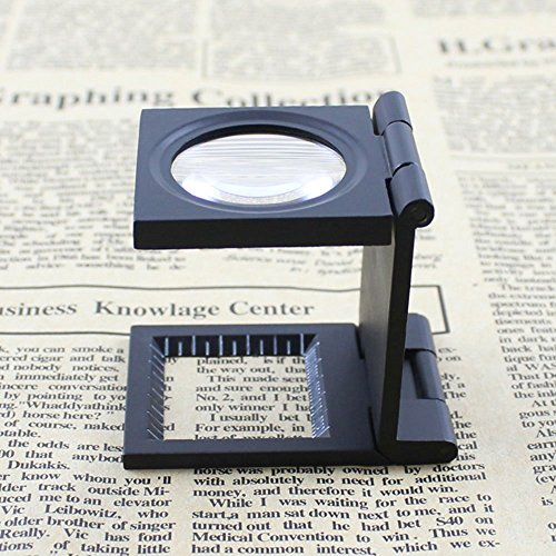 Yosoo 10X 28mm Mini Three-Folding 10X Magnifier Zinc Alloy Magnifier Magnifying Glass with Scale for Textile Optical Jewelry Tool Photo #4