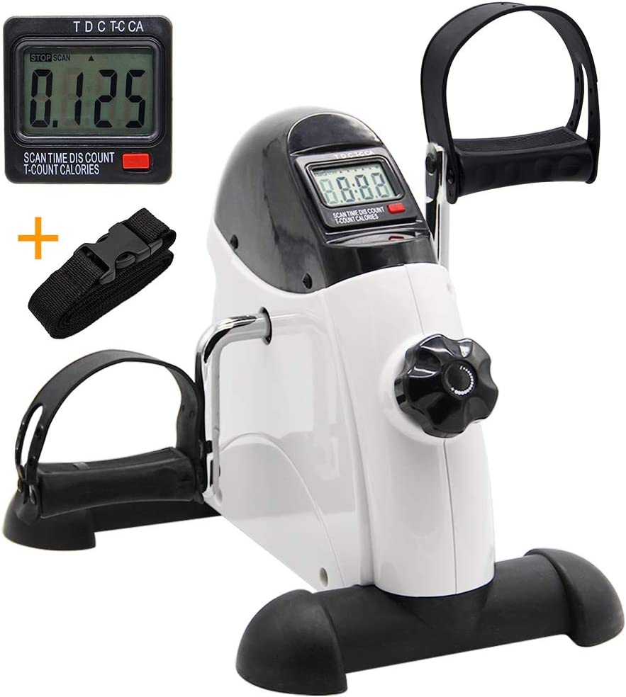 Hausse Portable Exercise Pedal Bike for Legs and Arms, Mini Exercise Peddler with LCD Display, White: Health & Personal Care