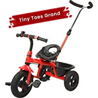 R for Rabbit Tiny Toes Grand Smart Plug and Play Stylish Baby Tricycle Trike Cycle for Kids of 1.5 to 5 Years with Basket,Parentals Control & Rubber Wheels(RED)