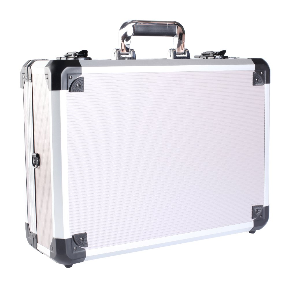 Aluminum Briefcase, Attaché Case, 14.7Inch Hard-Sided Laptop Case, Equipment Hard Flight Case Toolbox Briefcase Case Portable Case (Silver)