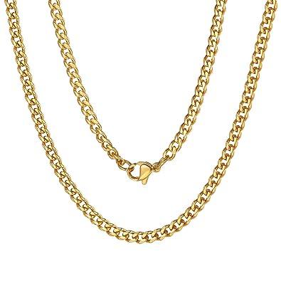 ChainsPro 3 MM Collar Curb de Hombre y Mujer, Cadena Fina y Gruesa Acero Inoxidable Tres Colores, 46-76CM de Longitud