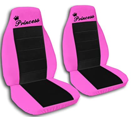 2 Hot Pink And Black QuotPrincessquot Car Seat Covers For A 2003