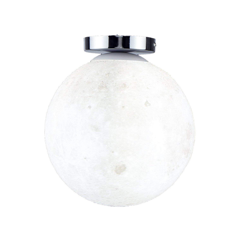 HAIXIANG 7.8 Inch 3D Moon Ceiling Light Ceiling Lamp LED Resin Light Fixture Bedroom Living Room Office Restaurant Cafe Bar Kids Room Christmas Gift White Light Warm Light
