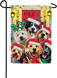Christmas Dogs - Garden Size, 12 Inch X 18 Inch, Decorative Double Sided Flag Printed in USA - Copyright and Licensed, Trademarked by Custom Décor Inc.