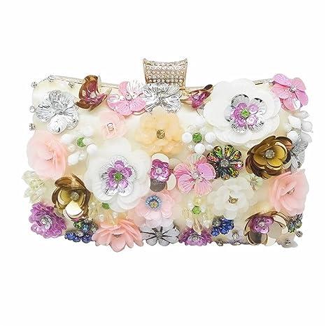 f8945682dd EKDJFG Flower Sequins Appliques Women Beaded Gold Evening Purse Wedding  Party Bridal Crystal Handbag Floral Clutch