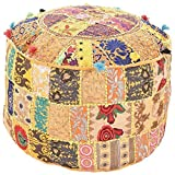 GANESHAM Indian Home Decor Hippie Patchwork Bean Bag Boho Bohemian Hand Embroidered Ethnic Handmade Pouf Ottoman Vintage Cotton Floor Pillow & Cushion (13'' H x 18)'' Diam.