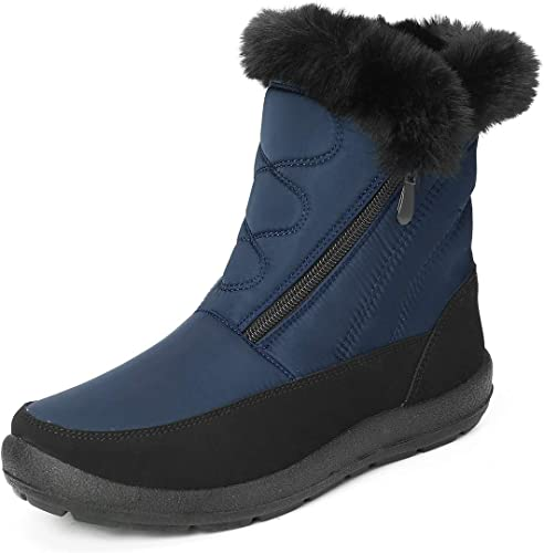 Women Winter Mid Calf Fur Lined Warm Snow Ankle Boots Flat Shoes Booties Size