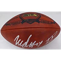 $770 » Russell Wilson & Marshawn Lynch Autographed Limited Edition Super Bowl XLVIII Leather Football Seattle Seahawks RW & ML Holo Stock #130464