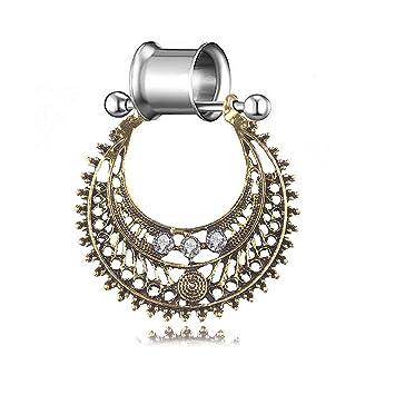 XYM Doble Cuerno dilatador del oído Estilo étnico Retro En Forma de U Colgante de Diamante Oreja expansión del Cuerpo Piercing joyería (Oro Antiguo/Plata ...